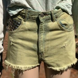 Green Eco Dyed Vintage Studded Mom Shorts OOAK